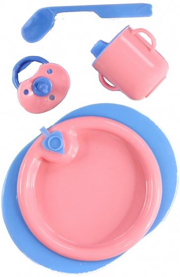 Heless babypop verzorgingsset 4 delig roze-blauw