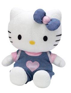 Hello Kitty Knuffel jeans meisjes blauw 27 cm