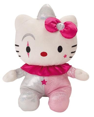 Hello Kitty Knuffel Clown meisjes roze/beige 27 cm