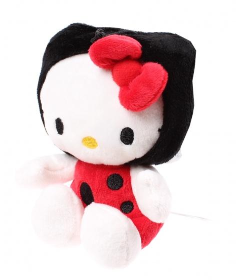 Hello Kitty knuffel lieveheersbeestje pluche zwart/rood 15 cm