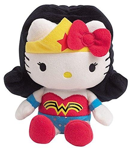 Jemini Hello Kitty Knuffel Wonder woman meisjes zwart/wit 17 cm