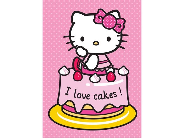Hello Kitty Speelkleed I Love Cakes Roze 95X133CM