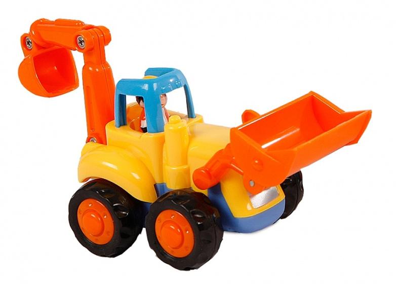 Hola bouwvoertuig shovel junior 16 cm oranje/geel
