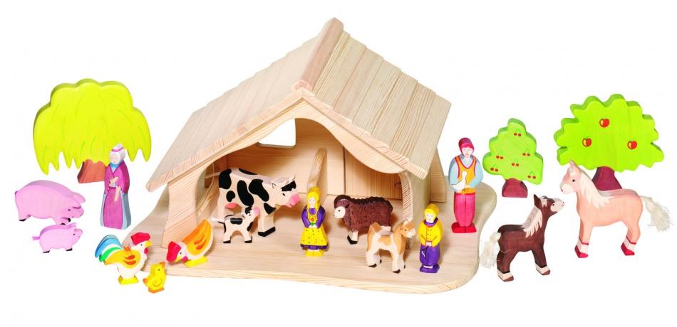 Holztiger Houten Boerderij Stal + Kribbe en Kerstster