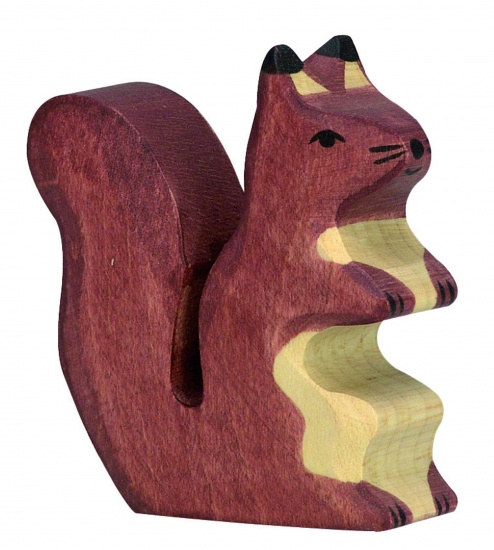 Holztiger Houten Zittende Donkere Eekhoorn