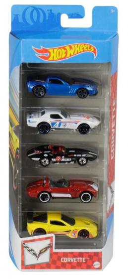 Hot Wheels autoset Corvette 7,5 x 2,5 cm staal 5 delig