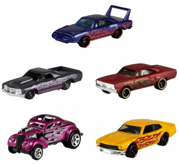 Hot Wheels autoset Flames 7,5 x 2,5 cm staal 5 delig
