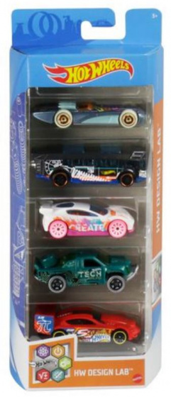 Hot Wheels autoset HW Design Lab 7,5 cm staal 5 delig