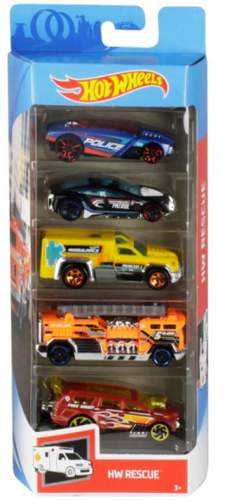 Hot Wheels autoset HW Rescue 7,5 x 2,5 cm staal 5 delig