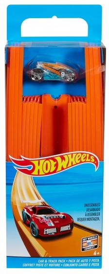 Hot Wheels baandelen met raceauto oranje 5 meter 37 delig