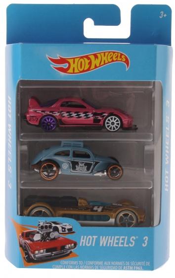 Hot Wheels cadeauset met 3 auto's roze/blauw/goud