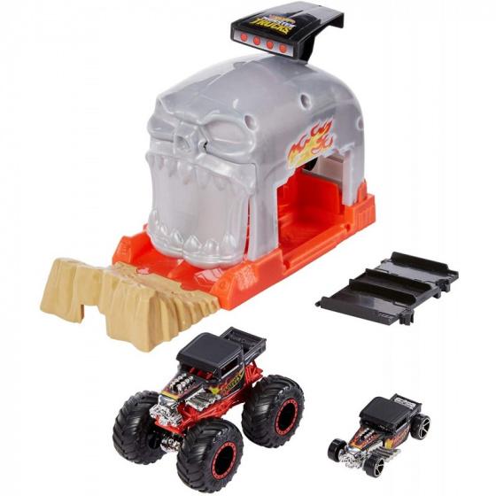 Hot Wheels lanceerbaan Monstertruck Bone Shaker 12,5 cm oranje/grijs