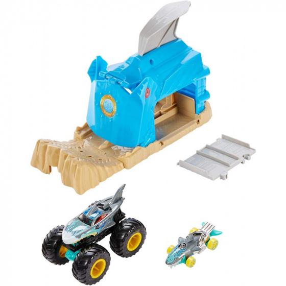 Hot Wheels lanceerbaan Monstertruck Shark Wreak 12,5 cm blauw