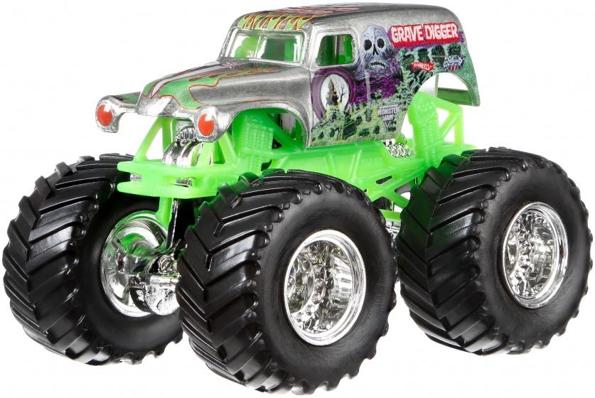 Hot Wheels monster truck Grave Digger zilver 9 cm