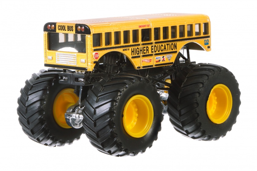 Hot Wheels monster truck Higher Education geel 9 cm