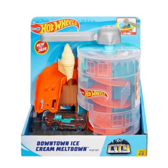 Hot Wheels speelset Ijsjespaniek jongens 20 cm oranje/blauw 2 delig