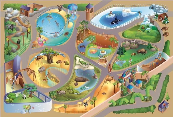 Achoka verkeerskleed Zoo 100 x 150 cm