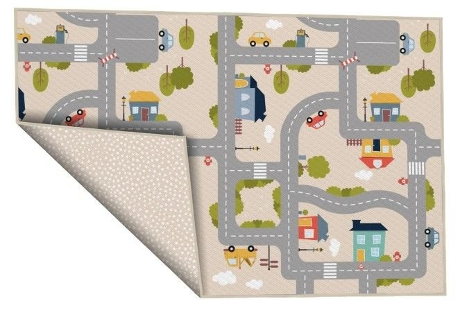 House of Kids verkeerskleed Achoka Stadswijk 100 x 150 cm beige