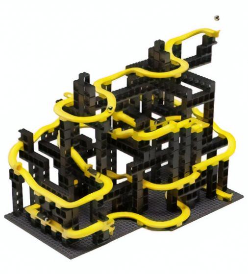Hubelino knikkerbaan bouwset zwart/geel 246 delig