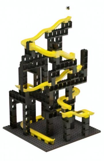 Hubelino knikkerbaan bouwset zwart/geel 99 delig