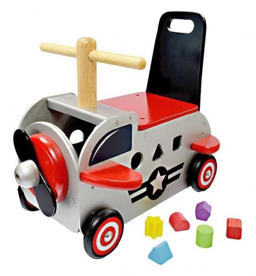 I'm Toy Loop en duwwagen vliegtuig 42 x 38 x 24 cm grijs/rood