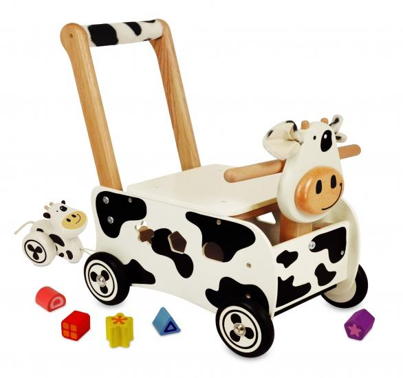 I'm Toy Rubberhouten Loopduwwagen Koe