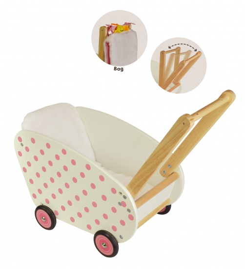 I'm Toy Rubberhouten Poppenwagen Wit Met Roze Stippen