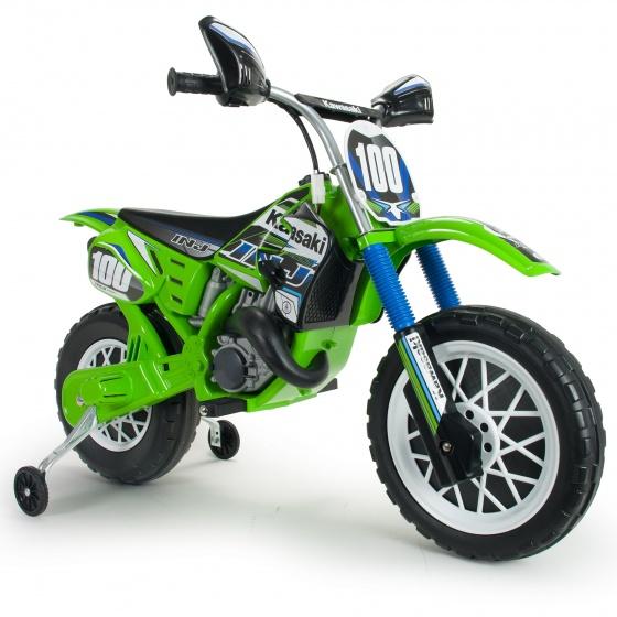 Injusa accuvoertuig crossmotor Kawasaki 6V 110 cm groen
