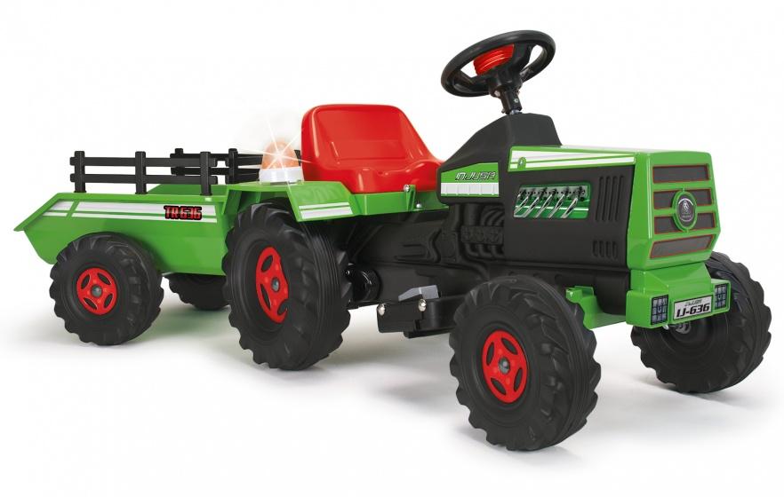 Injusa accuvoertuig tractor met aanhanger 6V 140 cm groen