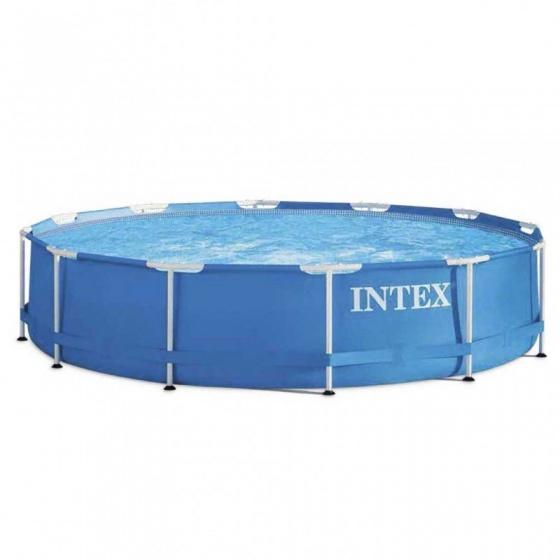 Intex opzetzwembad metal frame 366 x 76 cm blauw 214568