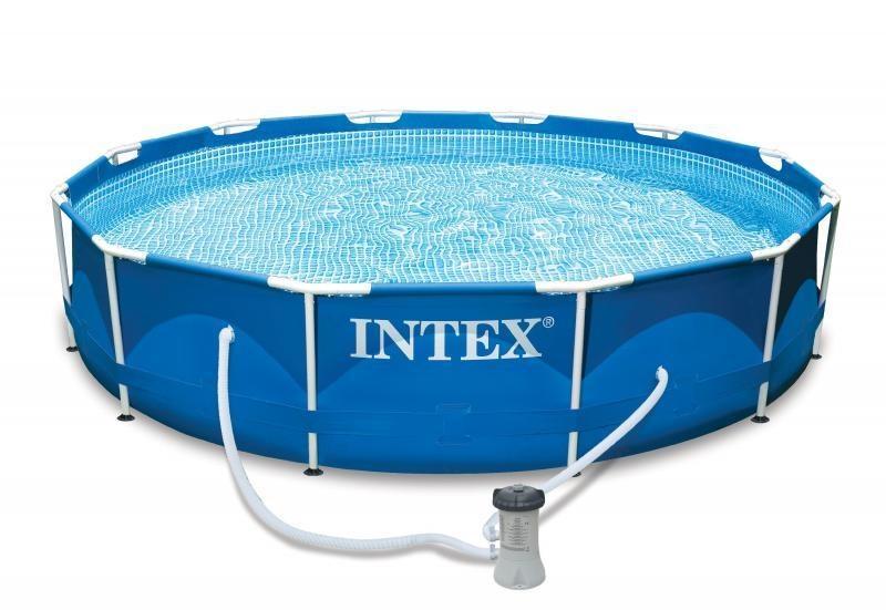 Intex opzetzwembad staal rond 305 cm blauw