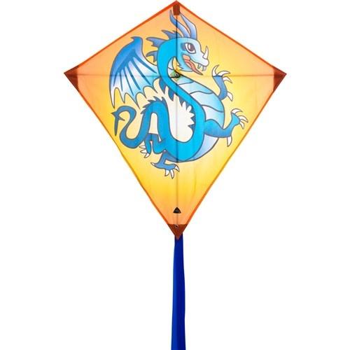 Invento eenlijnskindervlieger Eddy Dragon 68 cm geel/blauw