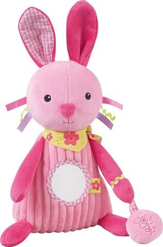 Jemini knuffel met rammelaar konijn pluche roze 24 cm