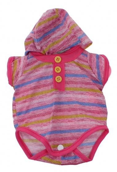 Johntoy Baby Rose babypoppenkleren romper streep 40 45 cm