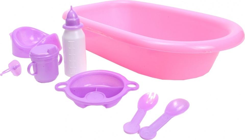 baby bath with accessories pink 8- piece 39 cm