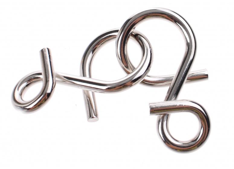 Johntoy Hersenkraker metalen puzzel in display zilver/rood