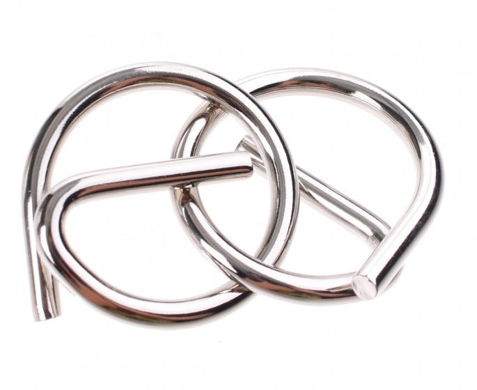 Johntoy Hersenkraker metalen puzzel in display zilver/zwart