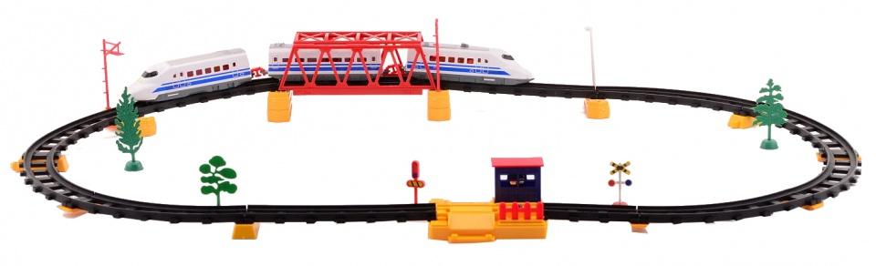 Johntoy hoge snelheid treinset 50 delig 2.75 meter blauw