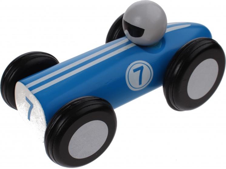 Jouco houten raceauto 16 cm blauw