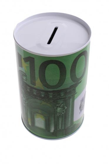 Johntoy Metalen spaarpot met eurobiljet print 100 euro groen