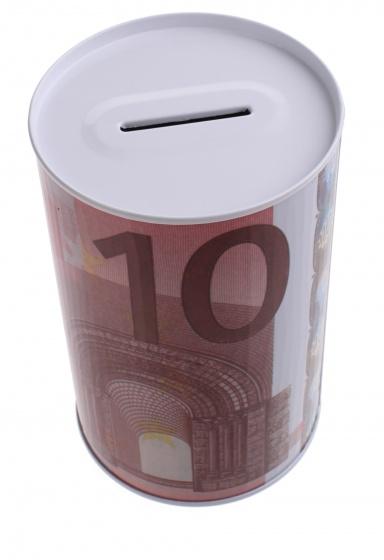 Johntoy Metalen spaarpot met eurobiljet print 10 euro rood