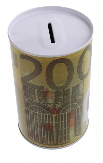 Johntoy Metalen spaarpot met eurobiljet print 200 euro geel