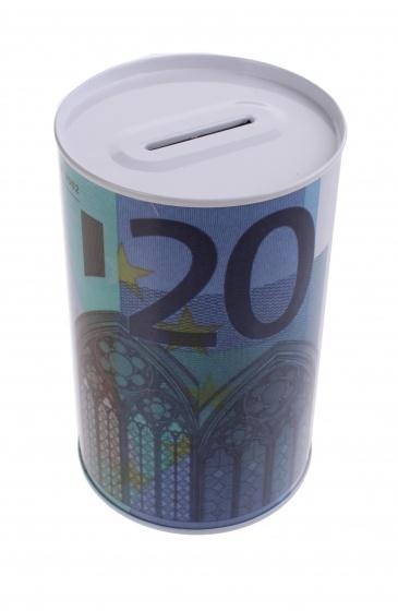 Johntoy Metalen spaarpot met eurobiljet print 20 euro blauw