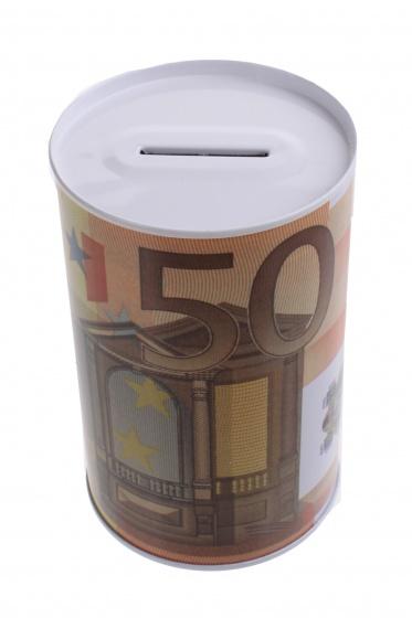 Johntoy Metalen spaarpot met eurobiljet print 50 euro oranje