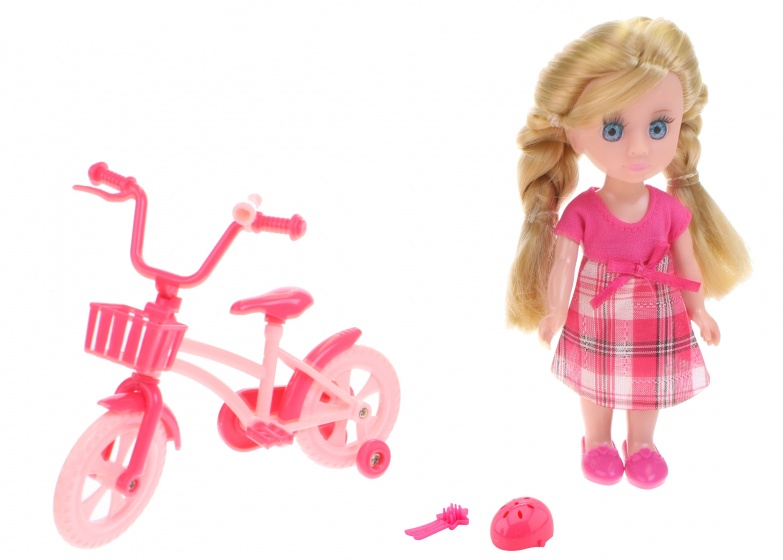 Johntoy pop Lily Dolls mijn eerste fiets 15cm 4 delig blond jurk