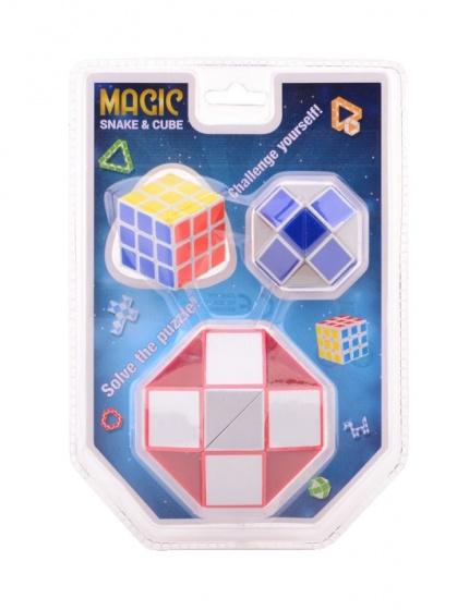 Johntoy puzzel Magische kubus en slang 3 delig rood
