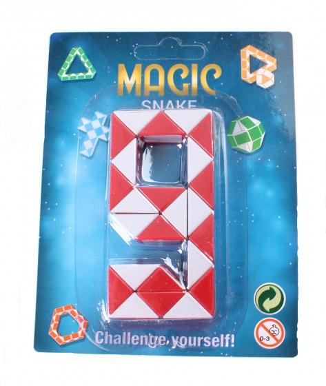 Johntoy puzzel magische slang op kaart rood