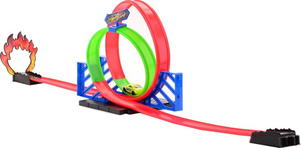 Johntoy racebaan Race Masters met twee loopings 105 cm lime