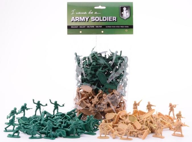 Johntoy Speelsoldaatjes 100 Stuk Groen en Beige