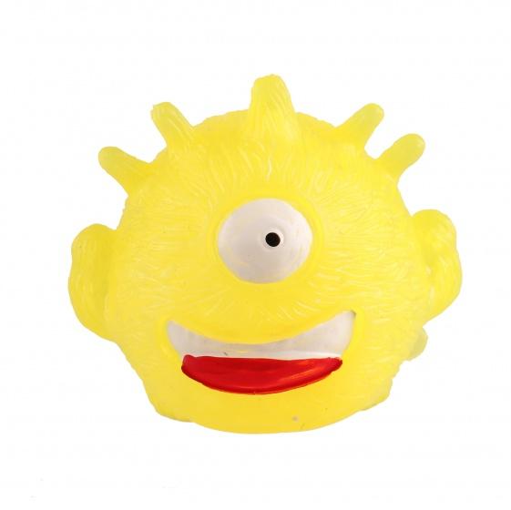 Johntoy stressbal Funny Face 7 cm geel